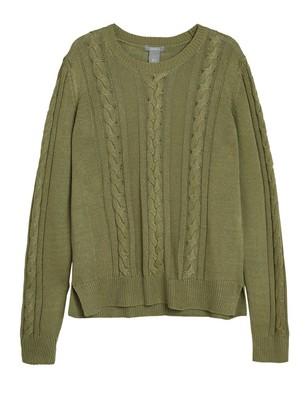 Kabelstickad tröja Grön