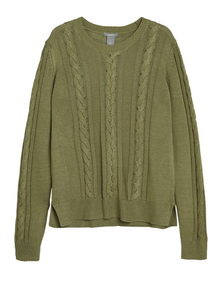 Cable-knit Sweater Green