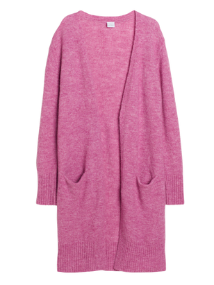 Long Knitted Cardigan Lilac