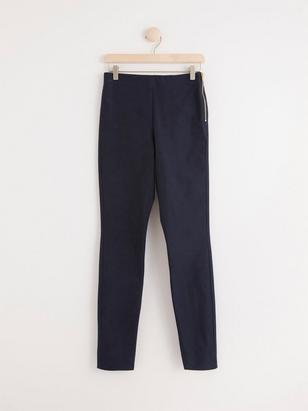 JONNA Navy Blue Slim High-Waist Trousers Blue