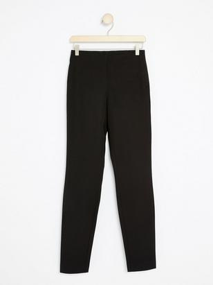 JONNA Black Slim High-Waist Trousers Black