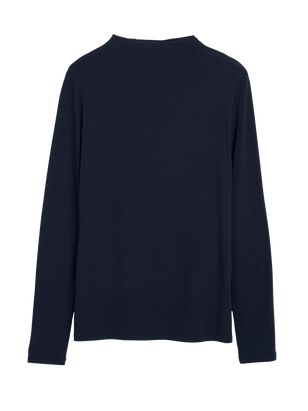 Turtleneck Top in Lyocell Blue