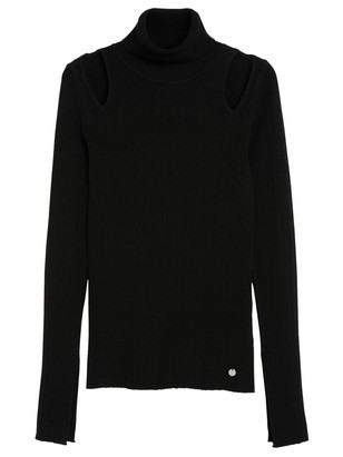 Textured Top with Cut-outs Black