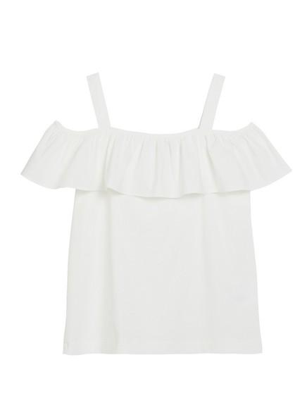 Off-shoulder-bluse med volang Hvit