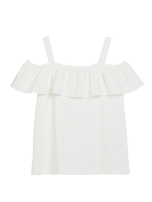 Off-shoulder Blouse with Flounce White