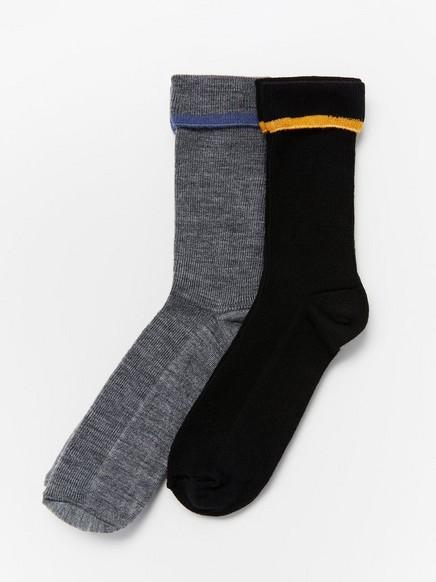 2-pack wool blend socks Black