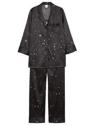 Saténové pyžamo Černá