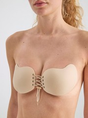 Rintaliivit Backless Lace Up Beige