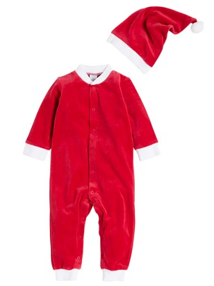 Santa Pyjamas in Velour Red