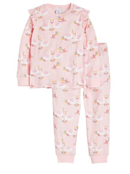 Pyjamas med svanemønster Rosa