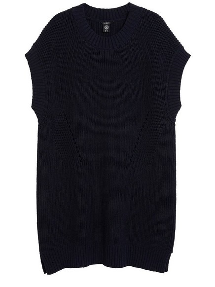Long Sleeveless Sweater Blue
