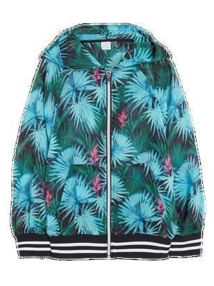 Hooded Chiffon Jacket Turquoise