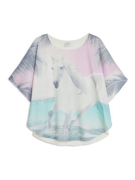 Poncho-pusero, jossa hevospainatus Valkoinen
