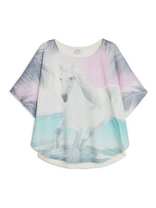 Poncho Top with Horse White