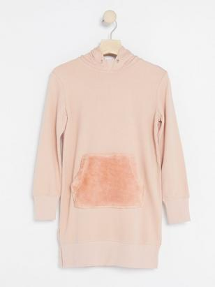 Sweater Dress with Fake Fur Pocket Pink