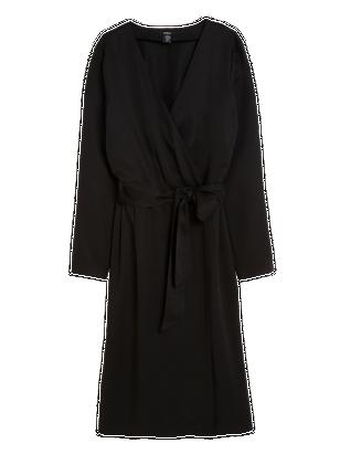 Wrap Dress with Tie Belt Black
