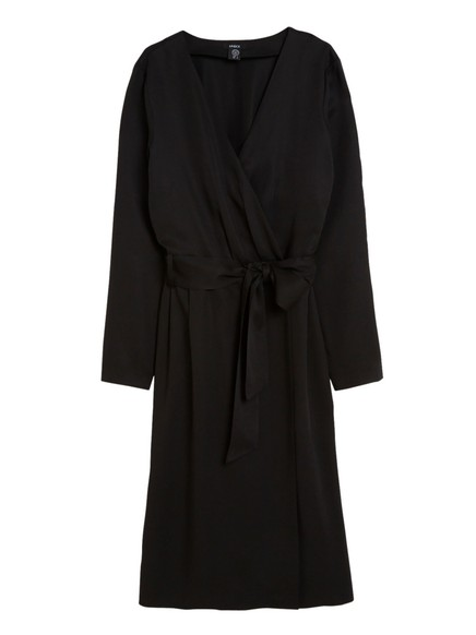 Wrap Dress with Tie Belt Black