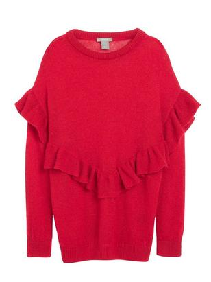 Knitted Sweater with Flounce Red