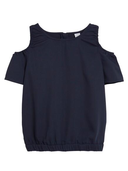Cold Shoulder-bluse Blå