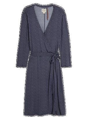Wrap Dress with Tie Belt Blue