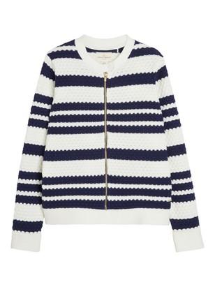 Texture-knit Cardigan Blue