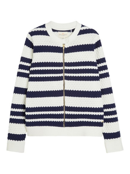 Texture-knit Cardigan Blue
