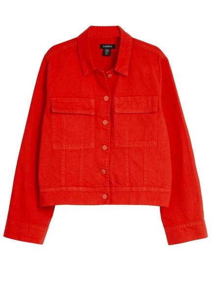 Rød jeansjakke Rød