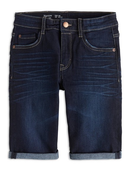 Narrow Denim Shorts Blue