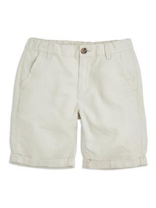 Loose Linen Shorts Beige