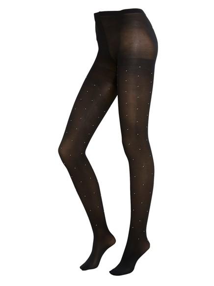 Punčochové kalhoty s kamínky Černá