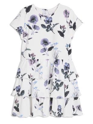 Dress with Flounces White