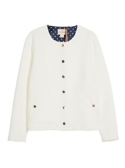 Žebrovaný kabátek Bílá
