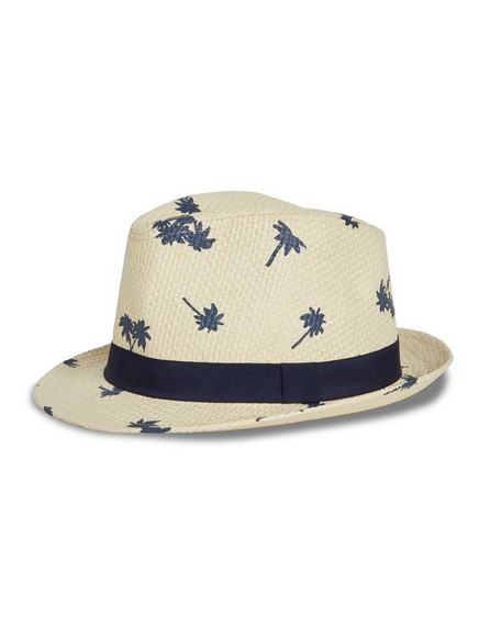 Patterned Straw Hat White