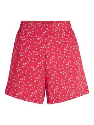 Shorts i viskose Rød