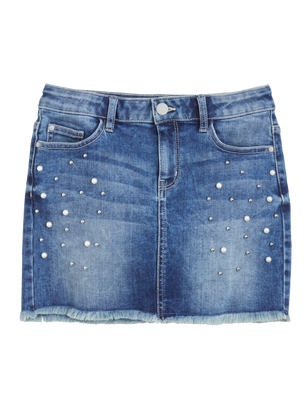 Denim Skirt with Pearls Blue