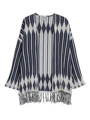 Kimono med frynser Blå