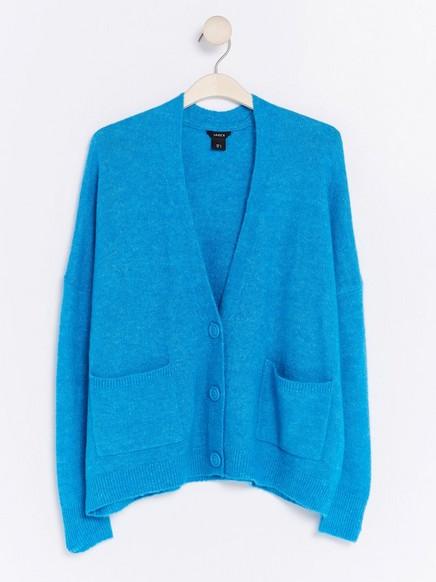 Fine-knit Cardigan Blue