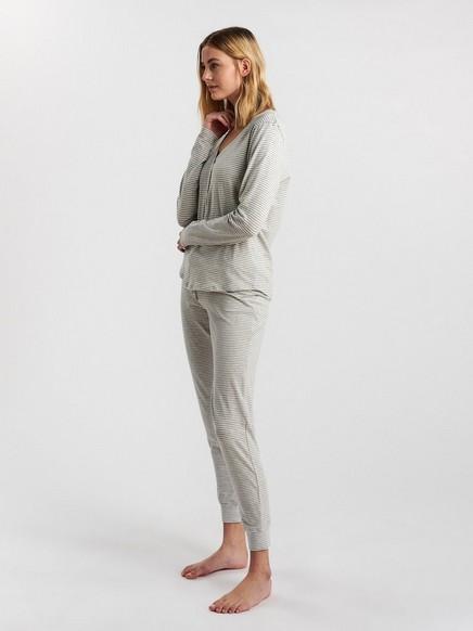 Stripete pyjamasbukse Grå