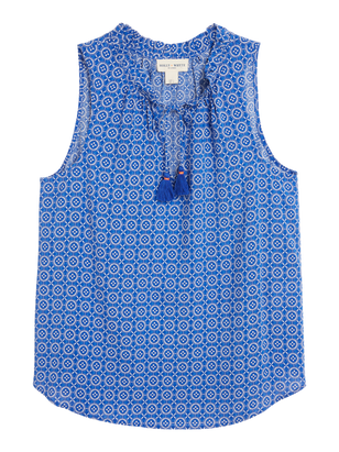 Sleeveless Blouse with Tassels Blue