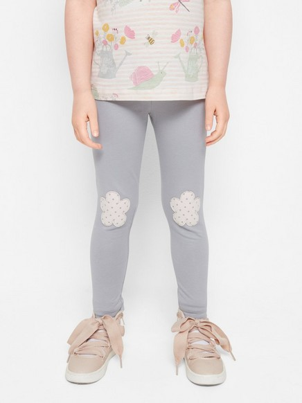 Leggings with Knee Patches Grey