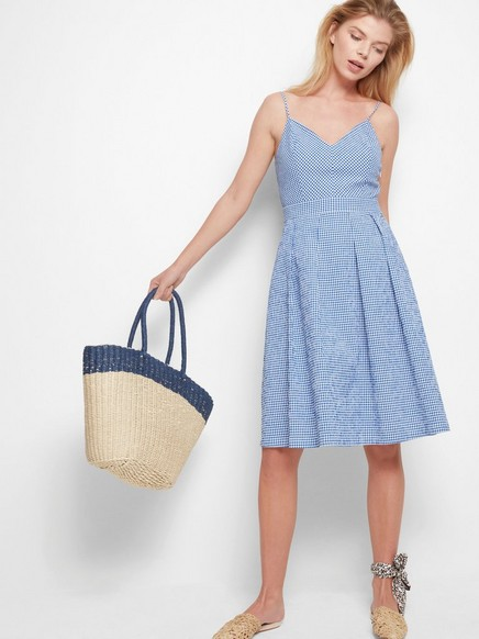 Rutete kjole Blå