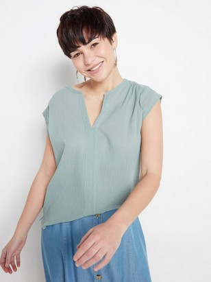 V-neck crepped top  Green