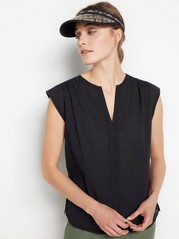 V-neck crepped top  Black