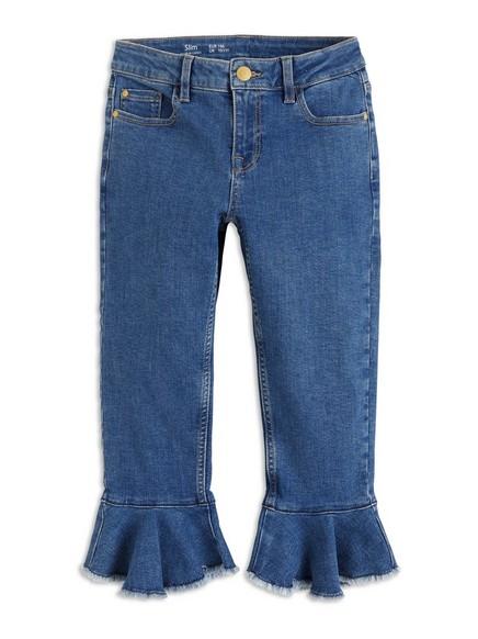 Úzké džíny zkráceného střihu Modrá