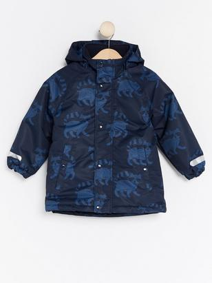 Padded Jacket with Racoons Blue