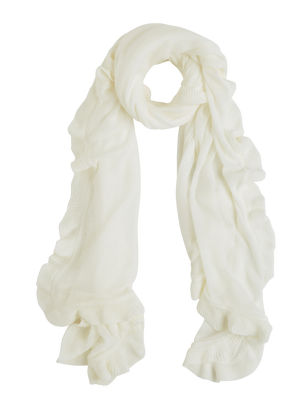 Fine-knit Scarf with Flounce White