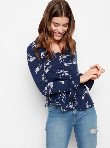 Mønstret bluse i Tencel®-blanding Blå