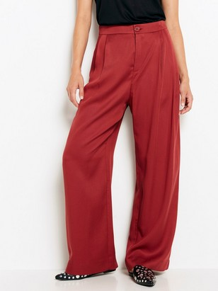 Wide High Trousers in Tencel® Red