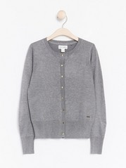 Fine-knit Cardigan Grey
