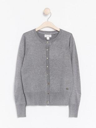 Fine-knit Cardigan Grey